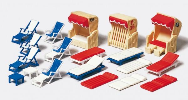 Preiser 17308 - H0 - Liegestühle, Liegen und Strandkörbe