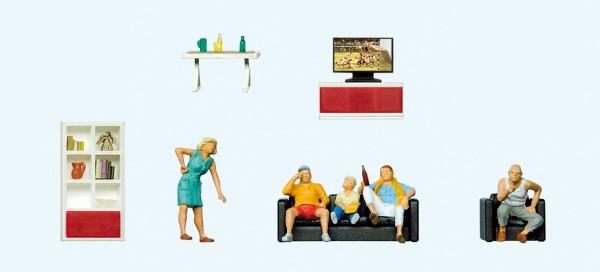 Preiser 10649 - Familie beim fernsehen, Wohnzimmereinrichtung