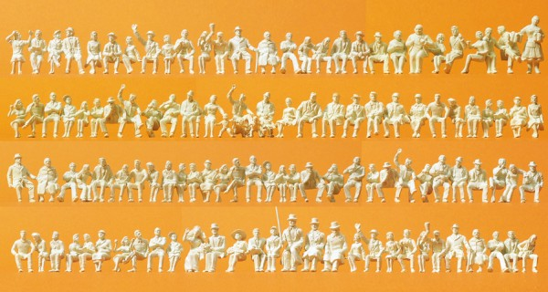 Preiser 16328 - H0 - Sitzende Personen, 120 unbemalte Figuren