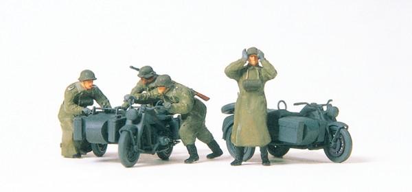Preiser 16580 - H0 - Kradschützen schiebend Motorrad Zündapp