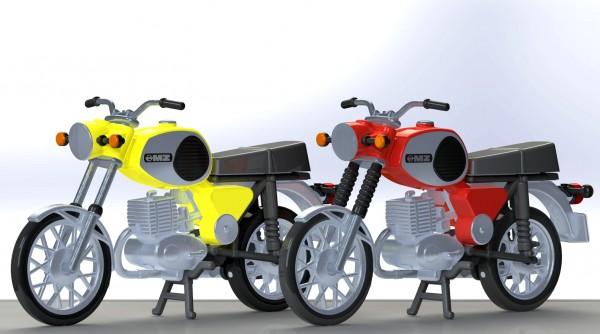 Kres 10261 - H0 - 2 Motorräder MZ TS 250, rot und gelb