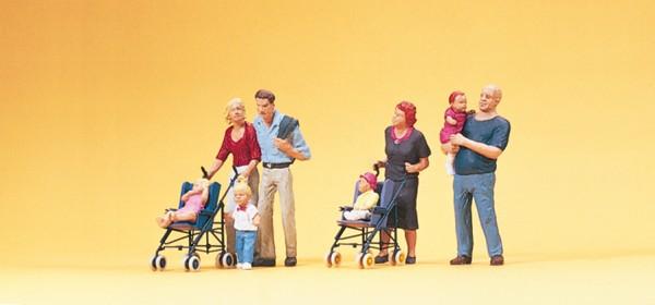 Preiser 10494 - H0 - Eltern mit Kinder, Kinderwagen