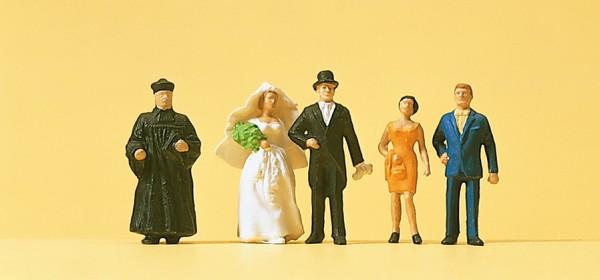 Preiser 14057 - H0 - Brautpaar, evangelischer Geistlicher