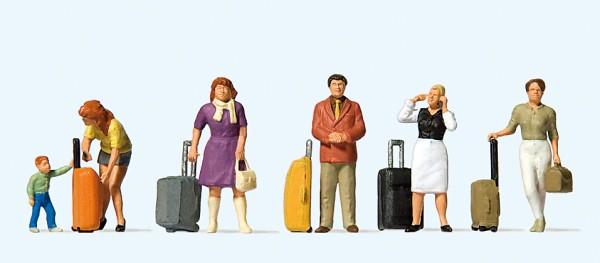 Preiser 10641 - H0 - Stehende Reisende mit Trolleys