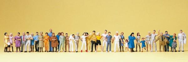 Preiser 14412 - H0 - Stehende und gehende Passanten, 36 Figuren handbemalt