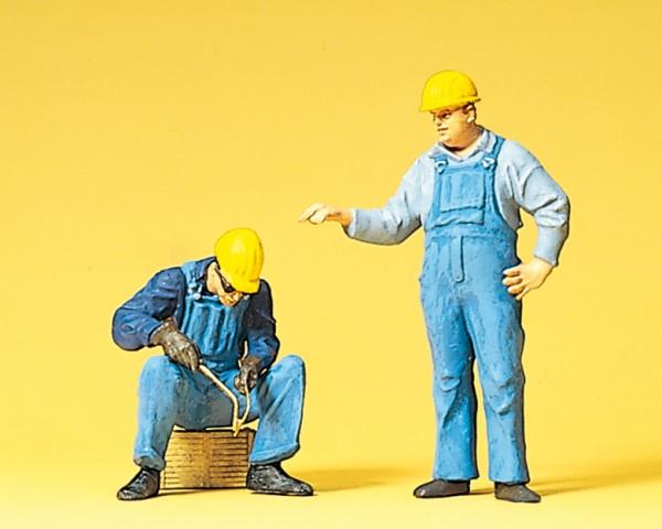 Preiser 45076 - Arbeiter mit Schutzhelm bei Schweißarbeiten