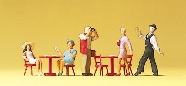 Preiser 10348 - H0 - Pantomime, Gäste im Straßencafé