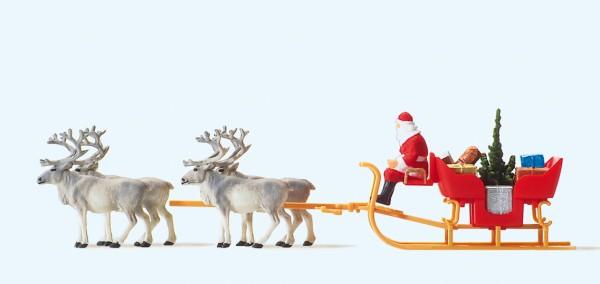 Preiser 30399 - H0 - Weihnachtsschlitten mit vier Rentieren
