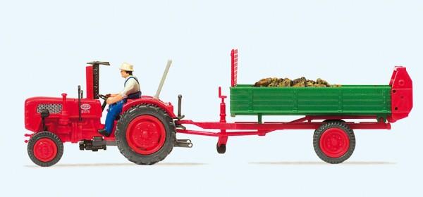 Preiser 17940 - H0 - Ackerschlepper Fahr mit Einachs-Dungstreuer
