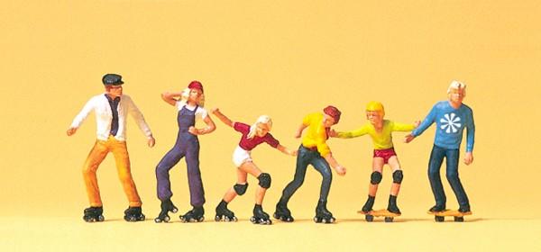 Preiser 10074 - H0 - Rollerskate und Skateboard