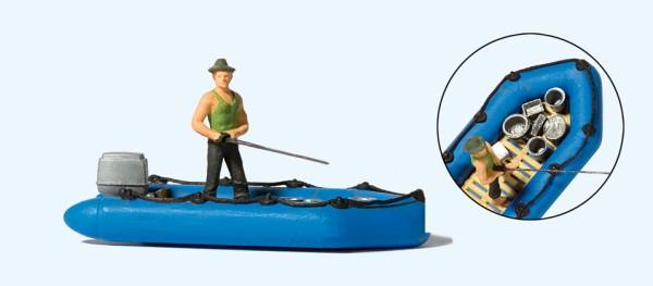 Preiser 10687 - H0 - Angler im Schlauchboot
