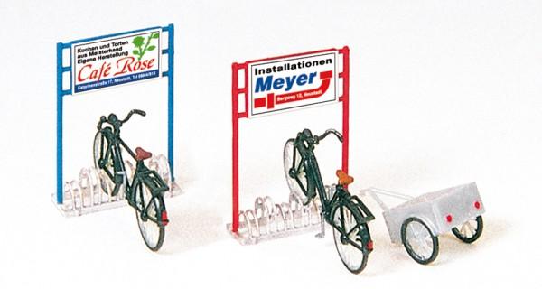 Preiser 17163 - H0 - Fahrräderständer, Fahrräder, Anhänger