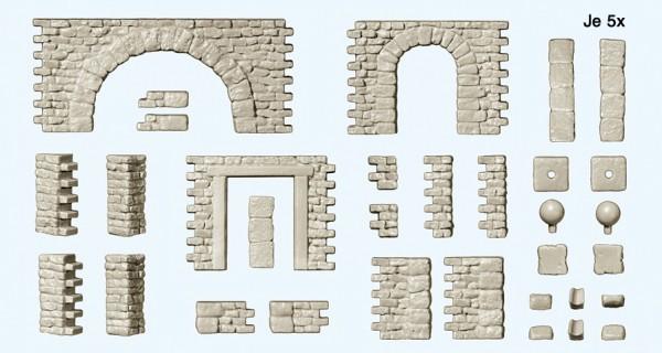 Preiser 18217 - H0 - Bruchsteinmauer mit Toröffnung und Rundbogen