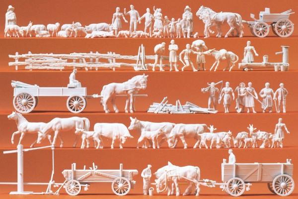 Preiser 16327 - H0 - Ländliche Gruppen und Gespanne, 60 Figuren unbemalt