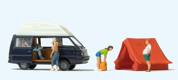 Preiser 33258 - H0 - Camping Mitsubishi L 300, Allrad, Zelt
