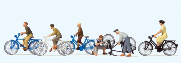 Preiser 10716 - H0 - Jugendliche mit den Fahrrad