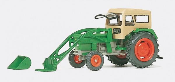 Preiser 17923 - H0 - Ackerschlepper DEUTZ D 6206 mit BAAS-Lader und FRITZMEIER Verdeck