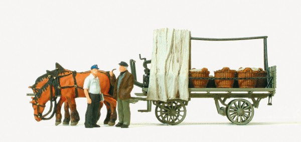 Preiser 30449 - H0 - Rollwagen mit Gemüseladung, Figuren & Pferde