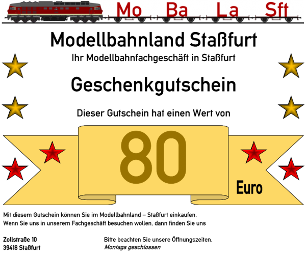 Geschenkgutschein 5 mit dem Wert von 80,- €