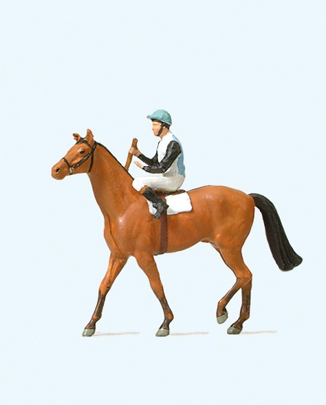 Preiser 29080 - H0 - Jockei auf Pferd
