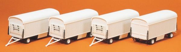 Preiser 20006 - H0 - Packwagen ohne Beschriftung, 4 Stk., Bausatz