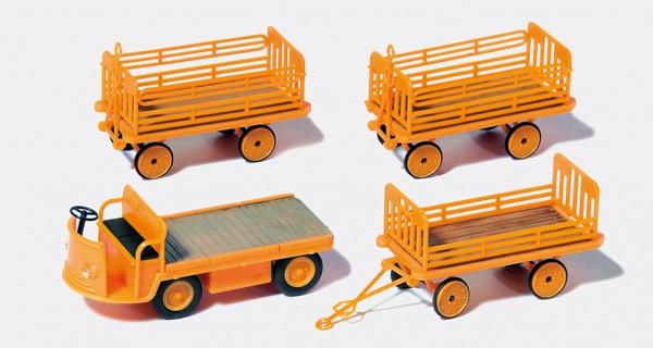 Preiser 17120 - H0 - Elektrokarre mit 3 Anhänger DB