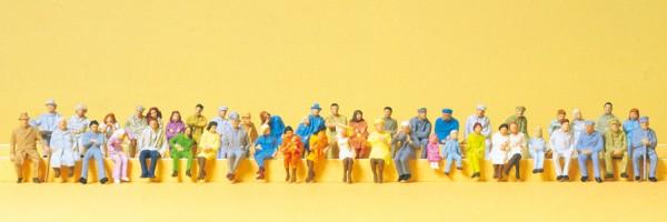 Preiser 14416 - H0 - Sitzende Personen, 48 Figuren handbemalt