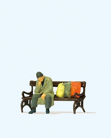 Preiser 29094 - H0 - Obdachloser auf Bank