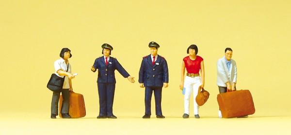 Preiser 10570 - H0 - Chinesisches Bahnpersonal, Reisende