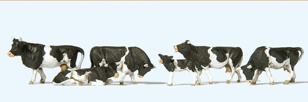 Preiser 10145 - Kühe schwarz gefleckt