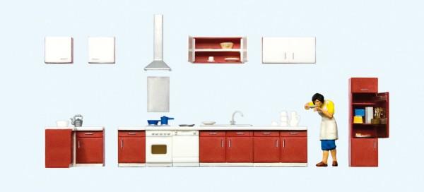 Preiser 10646 - H0 - Mutter beim Kochen, Kücheneinrichtung