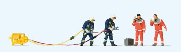 Preiser 10625 - H0 - Feuerwehrmänner in moderner Einsatzkleidung