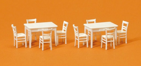 Preiser 17217 - H0 - 2 Tische, 8 Stühle, Materialfarbe weiß